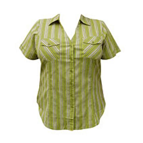 Randig damskjorta i stor storlek på rea