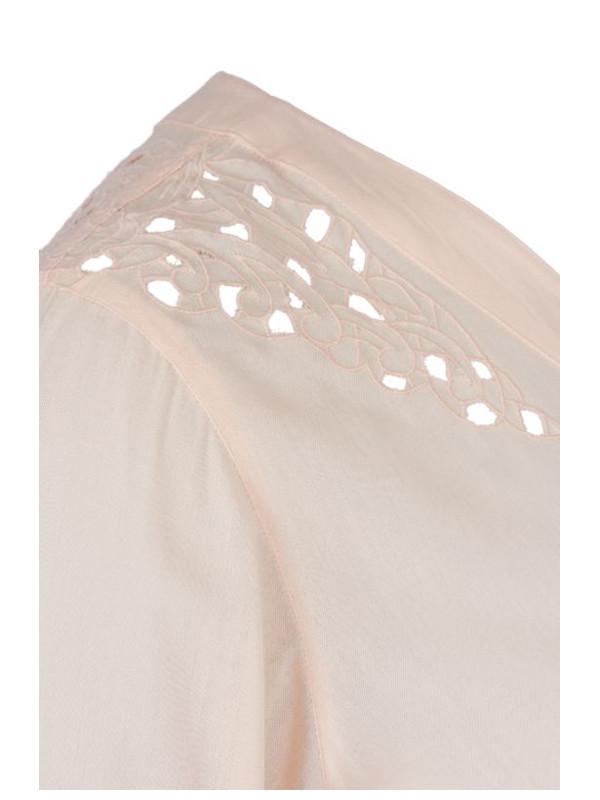 Blus med spetsdetaljer rosa detalj