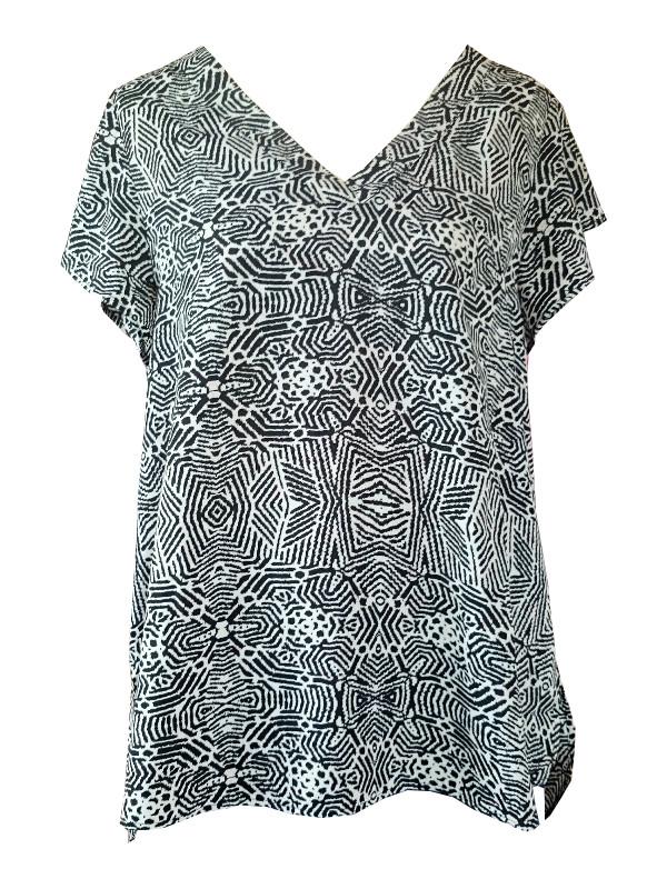 Blus med grafiskt mönster från Zizzi i svart