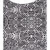 Detalj av grafisk mönster på klänning i stora stolekar