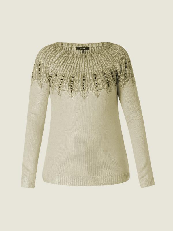 Raglanskuren grå tröja med mönster ochsilverinslag