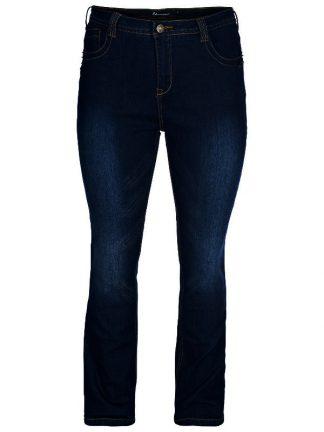 Jeansen Molly från Zizzi med hög midja, raka ben och kurvig höft