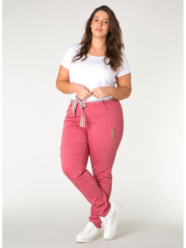 Rosa 5-ficksjeans för tjej med slitningar