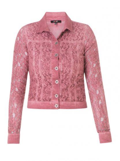 Rosa jeansjacka med spets att matcha till favoritjeansen