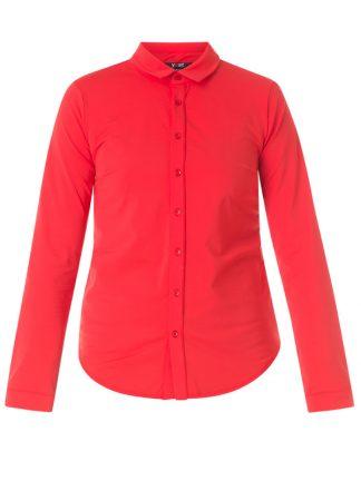 Röd figursydd damskjorta i storle 38.