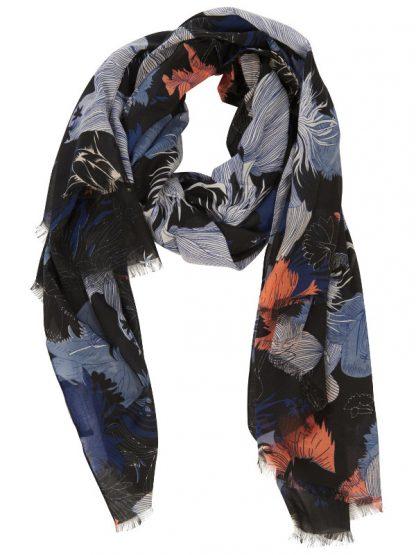 Skön scarfs i blå och rosa toner